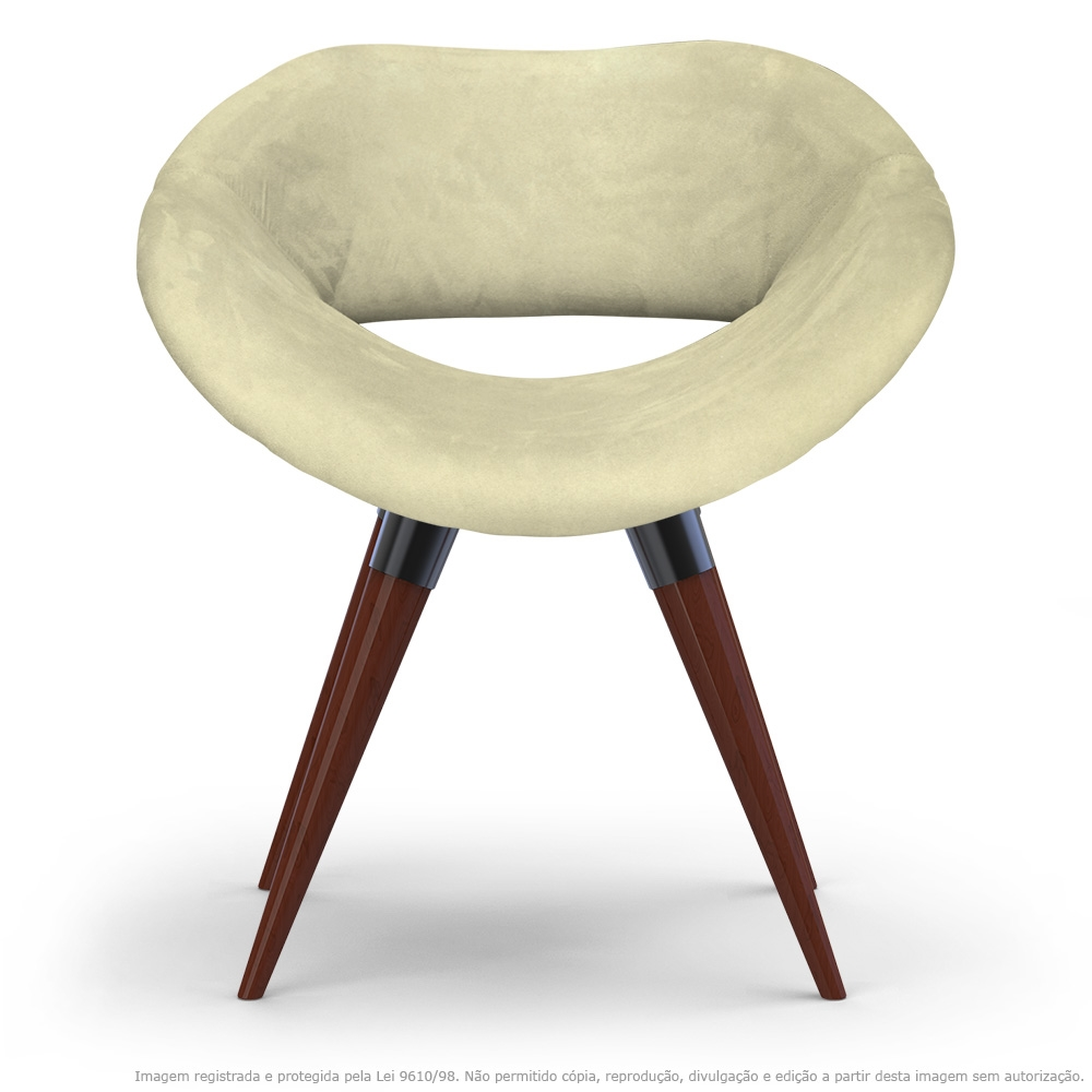 Poltrona Beijo Bege Cadeira Decorativa com Base Fixa de Madeira