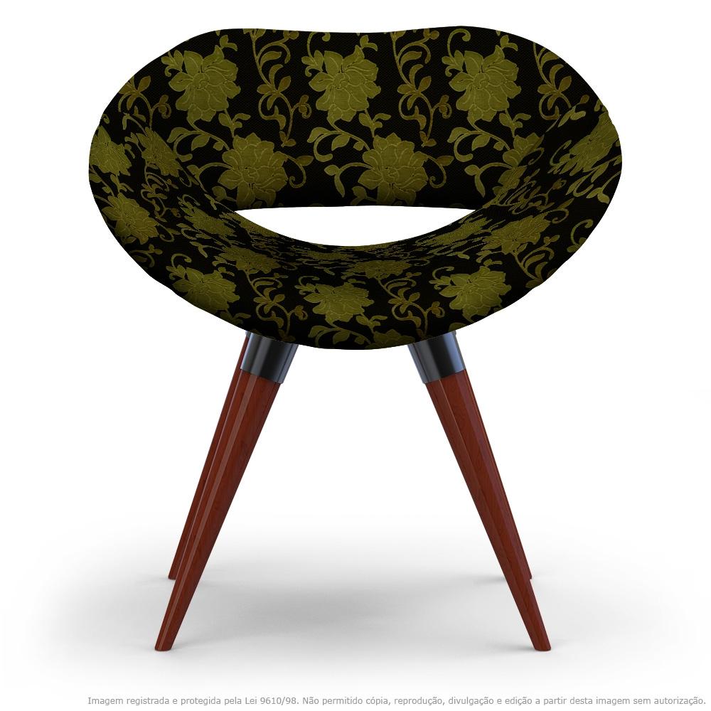 Poltrona Beijo Floral Amarelo e Preto Cadeira Decorativa com Base Fixa