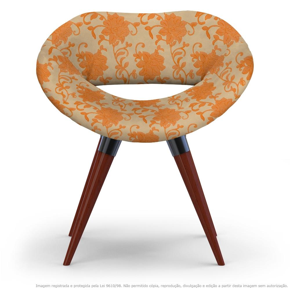 Poltrona Beijo Floral Laranja e Marrom Cadeira Decorativa com Base Fixa
