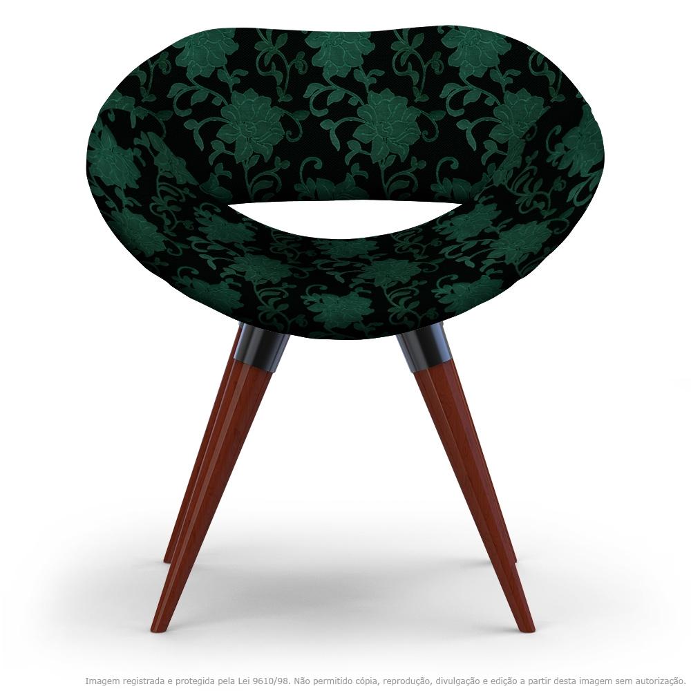 Poltrona Beijo Floral Verde e Preto Cadeira Decorativa com Base Fixa