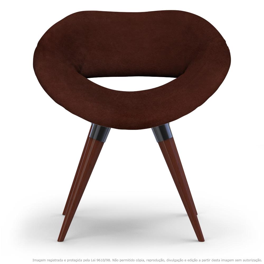 Poltrona Beijo Marrom Cadeira Decorativa com Base Fixa de Madeira