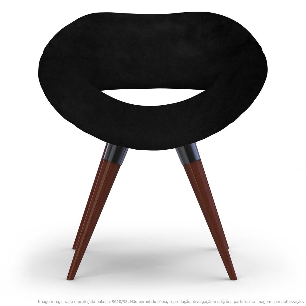 Poltrona Beijo Preta Cadeira Decorativa com Base Fixa de Madeira