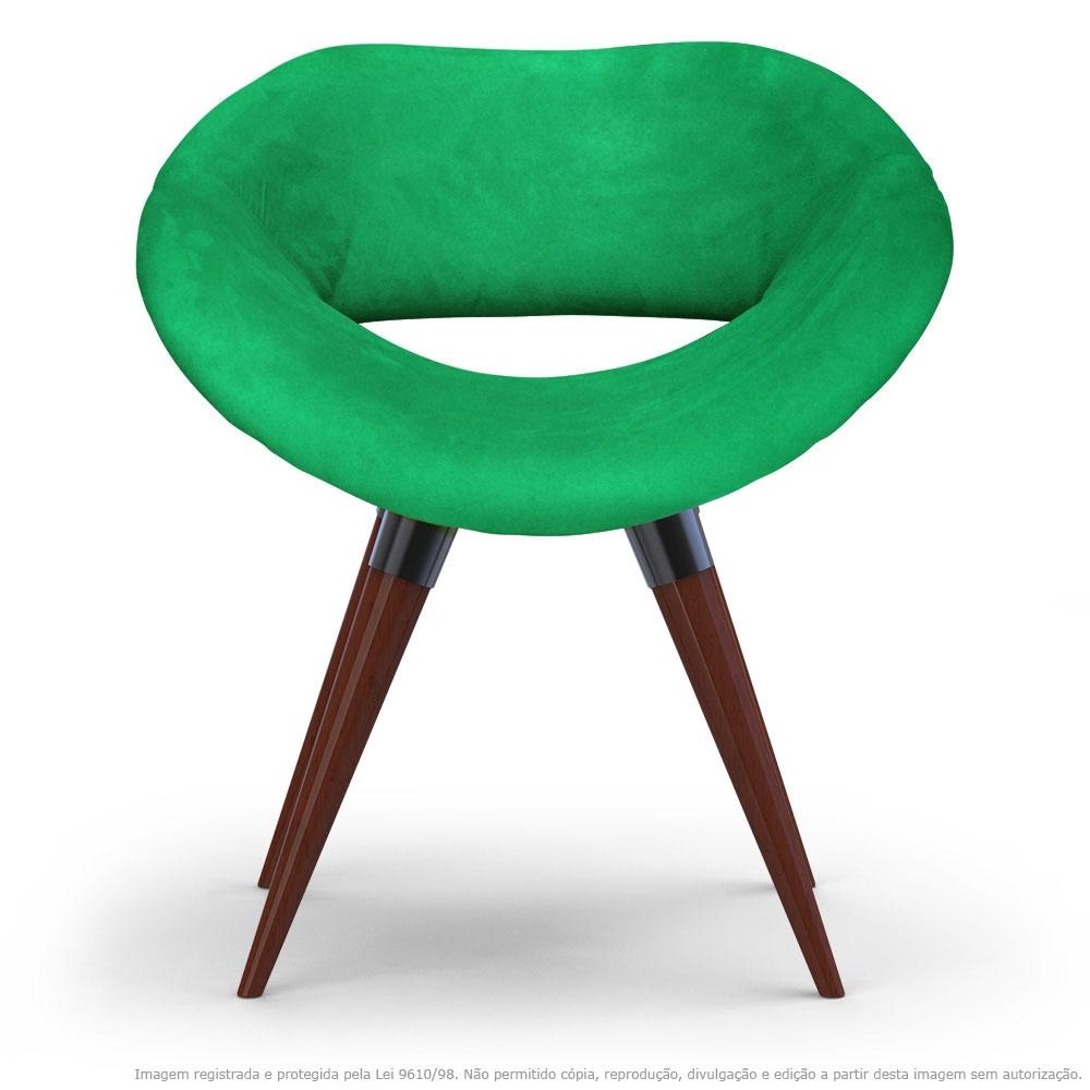 Poltrona Beijo Verde Cadeira Decorativa com Base Fixa de Madeira