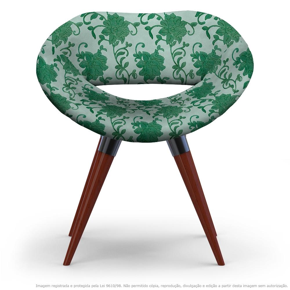 Poltrona Beijo Verde Floral Cadeira Decorativa com Base Fixa