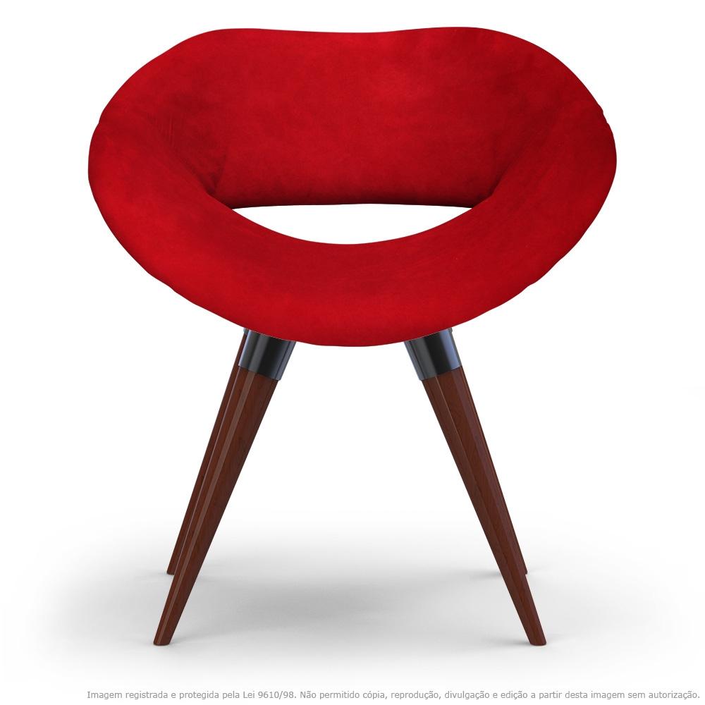 Poltrona Beijo Vermelha Cadeira Decorativa com Base Fixa de Madeira