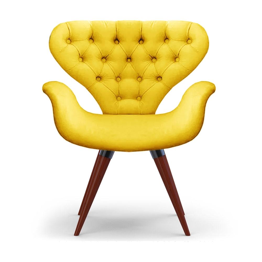 Poltrona Com Capitonê Cadeira Tulipa Amarela Base Fixa