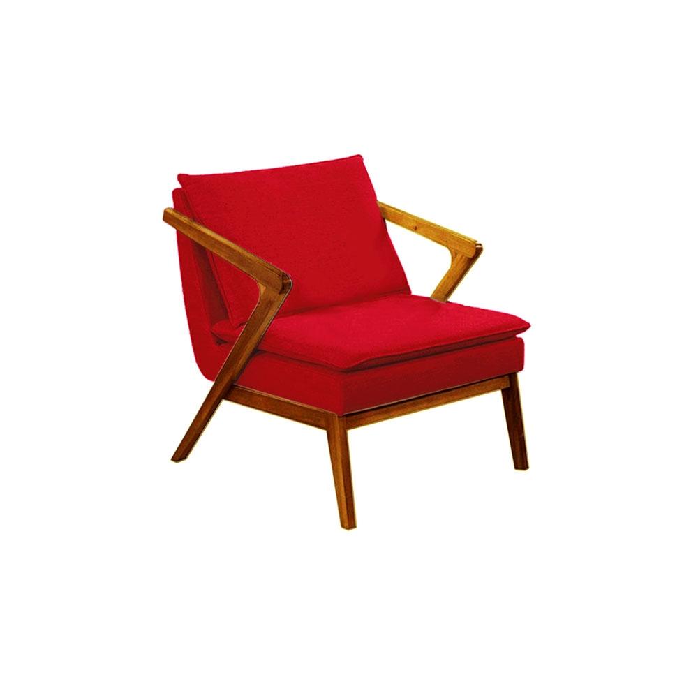 Poltrona Decorativa Agnes Luxo Vermelha
