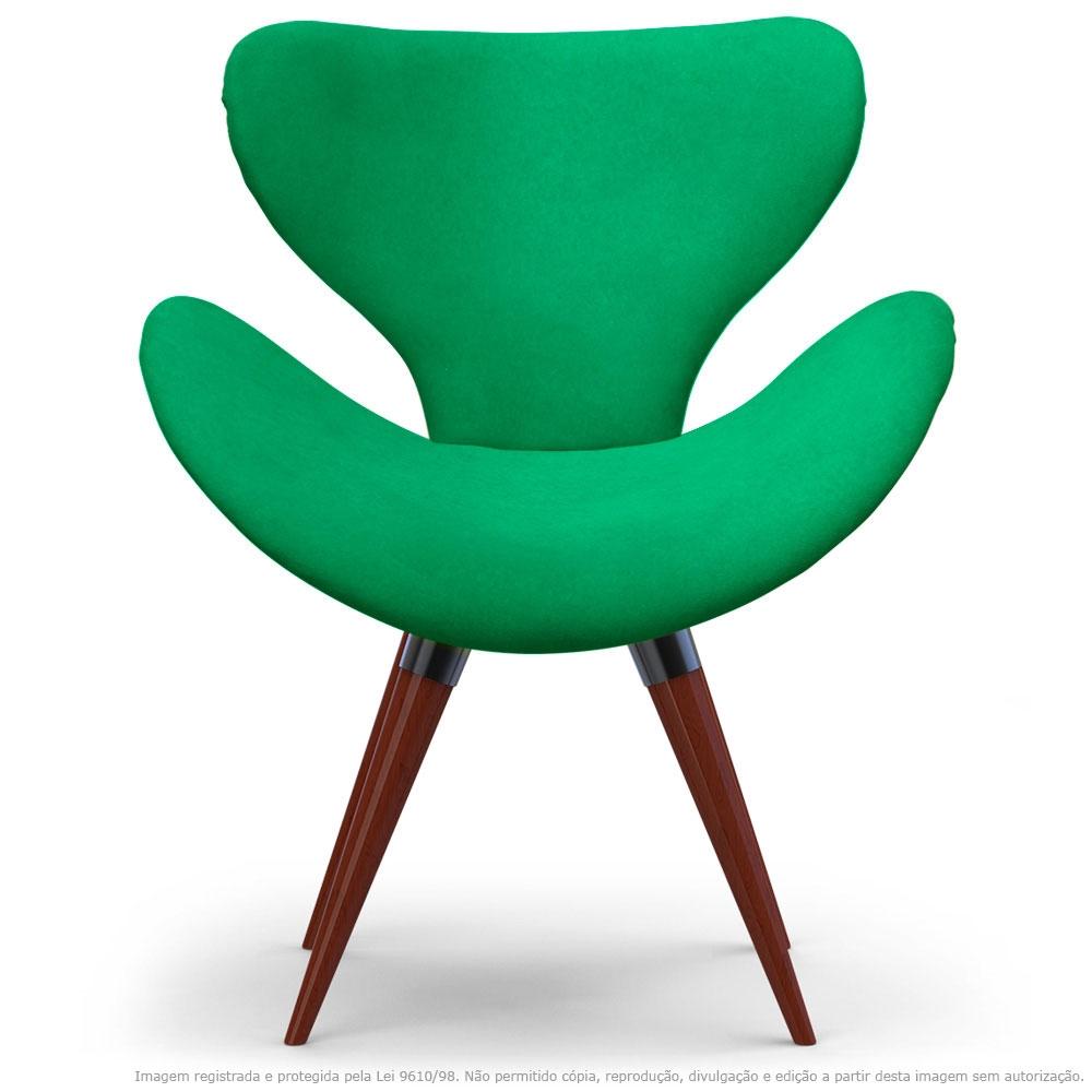 Poltrona Decorativa Cadeira Egg Verde com Base Fixa de Madeira