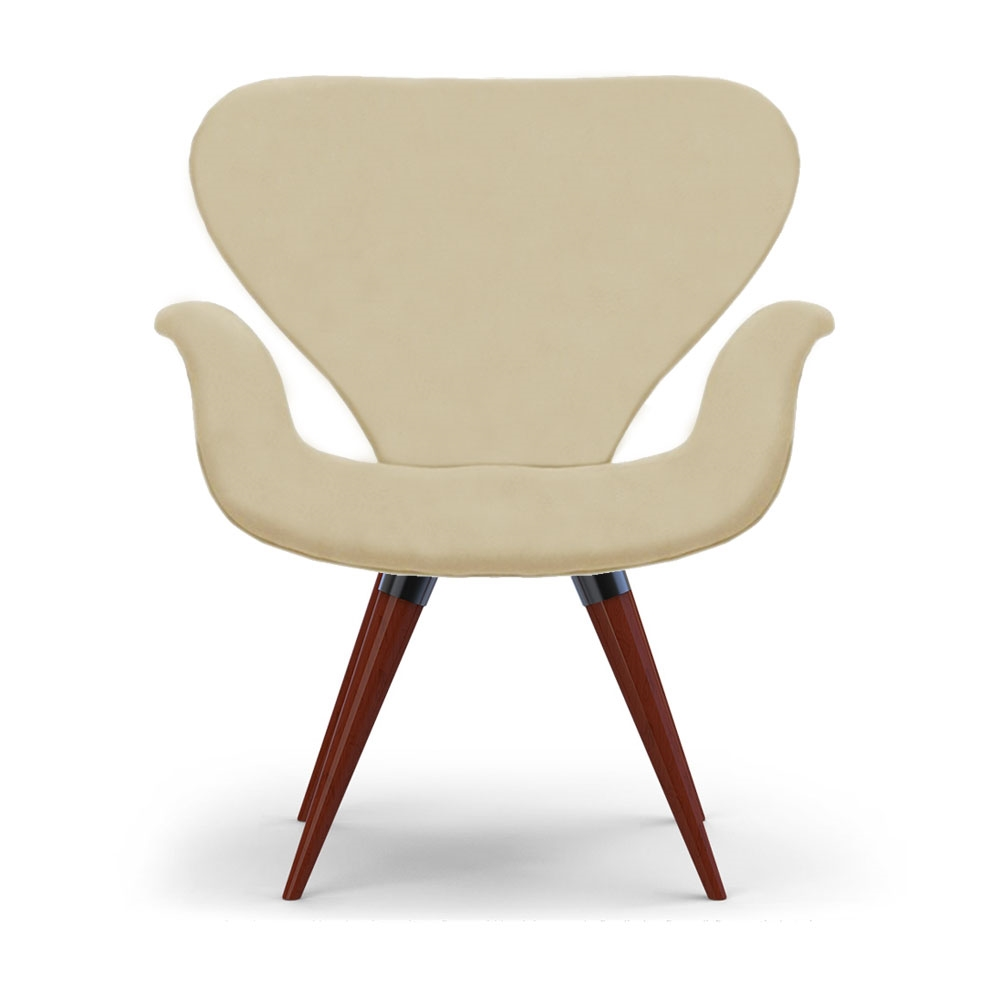 Poltrona Decorativa Cadeira Tulipa Bege Base Fixa Madeira