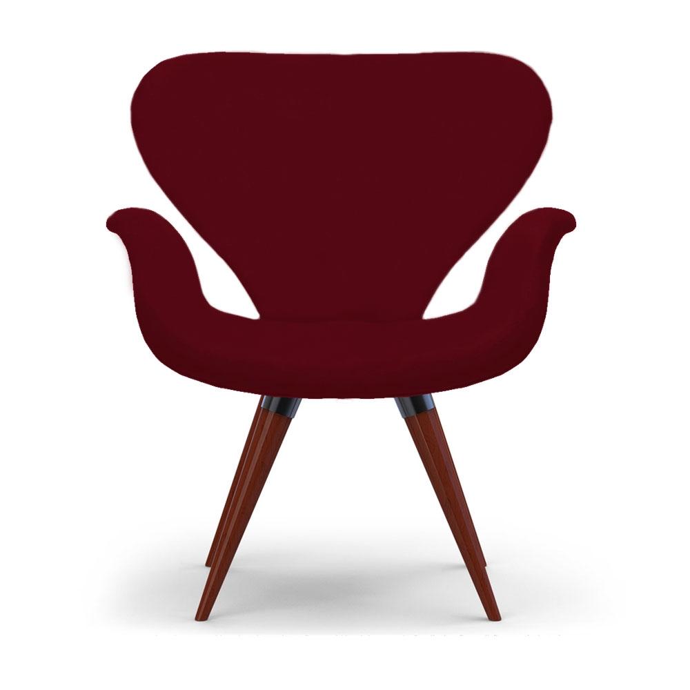 Poltrona Decorativa Cadeira Tulipa Bordô Base Fixa Madeira
