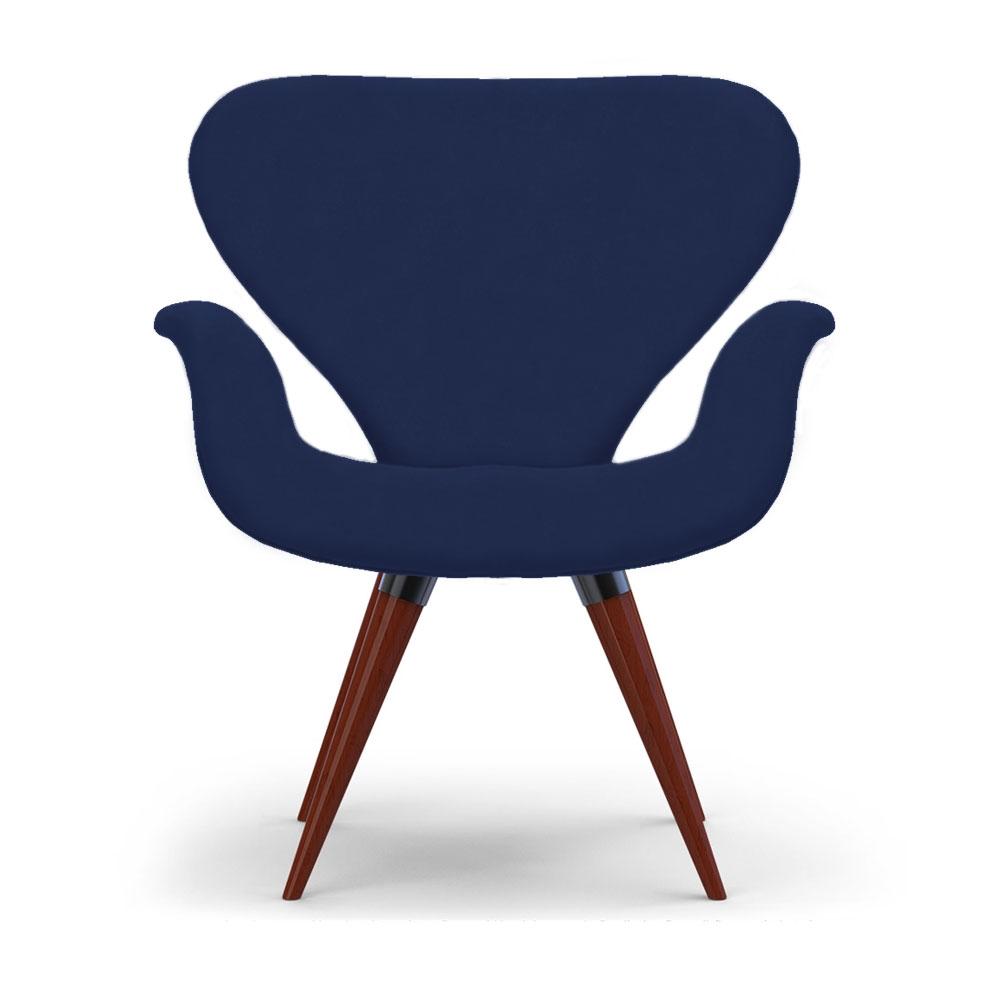 Poltrona Decorativa Cadeira Tulipa Marinho Base Fixa Madeira