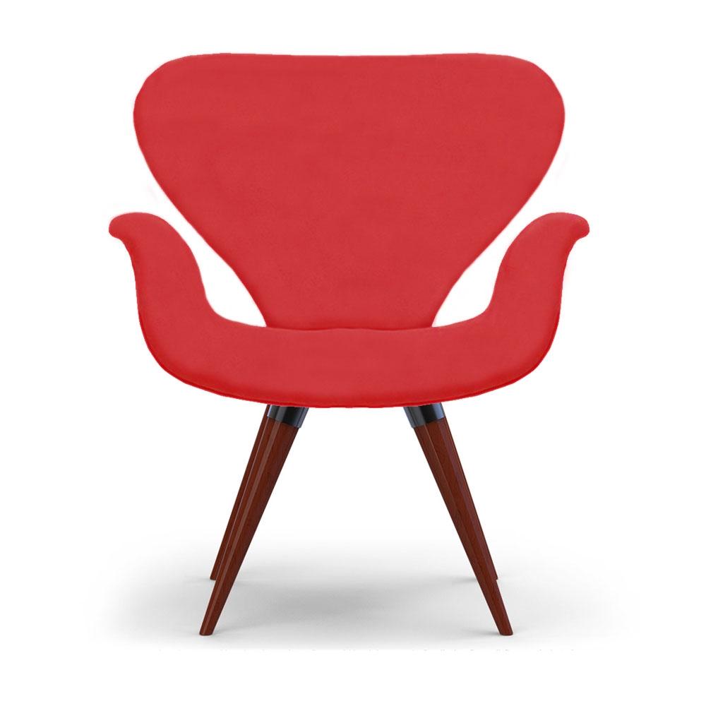Poltrona Decorativa Cadeira Tulipa Vermelha Base Fixa Madeira