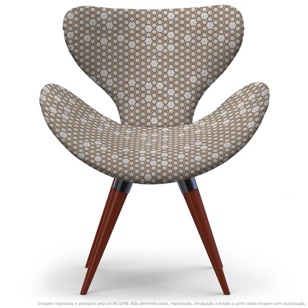 Poltrona Egg Colmeia Marrom Cadeira Decorativa com Base Fixa