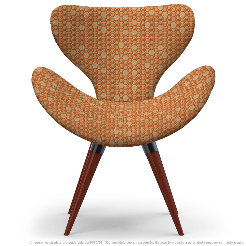 Poltrona Egg Colmeia Marrom e Laranja Cadeira Decorativa com Base Fixa