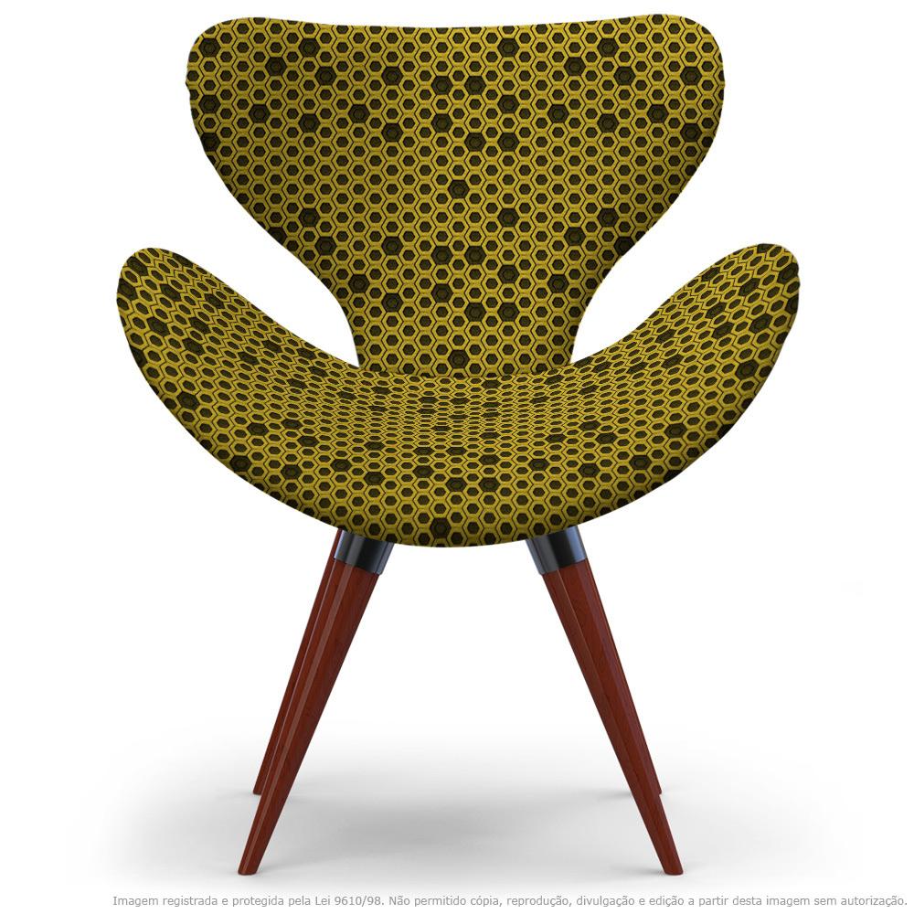 Poltrona Egg Colmeia Preto e Amarelo Cadeira Decorativa com Base Fixa