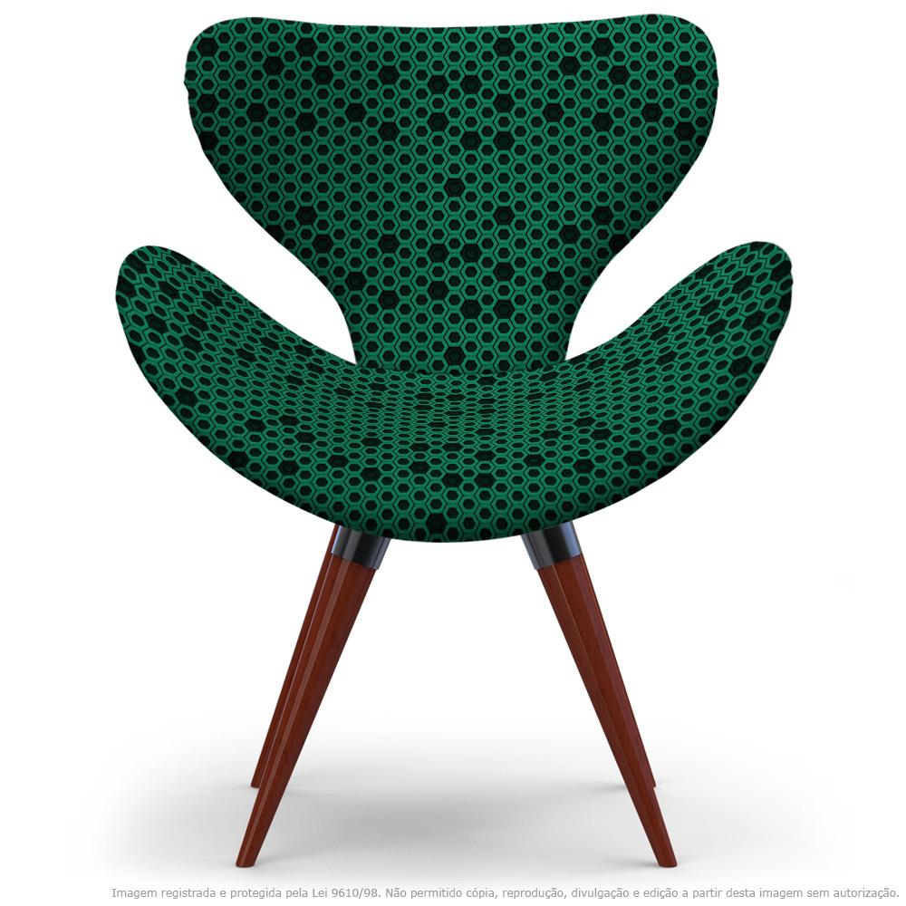 Poltrona Egg Colmeia Preto e Verde Cadeira Decorativa com Base Fixa
