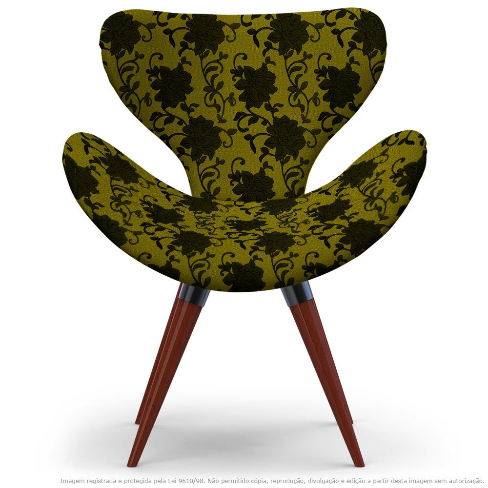 Poltrona Egg Floral Preto E Amarelo Cadeira Decorativa com Base Fixa