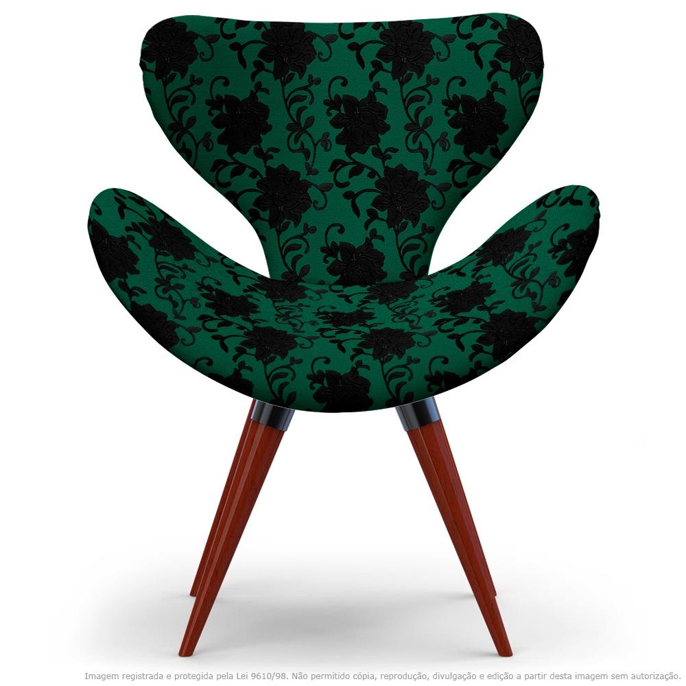 Poltrona Egg Floral Preto E Verde Cadeira Decorativa com Base Fixa