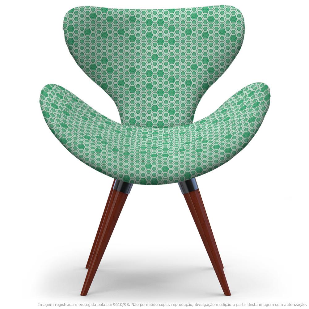 Poltrona Egg Verde Colmeia Cadeira Decorativa com Base Fixa
