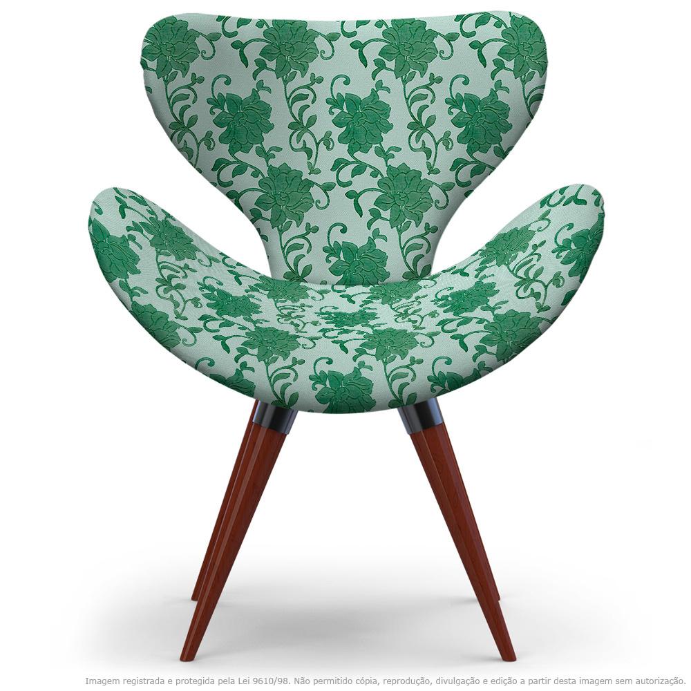 Poltrona Egg Verde Floral Cadeira Decorativa com Base Fixa