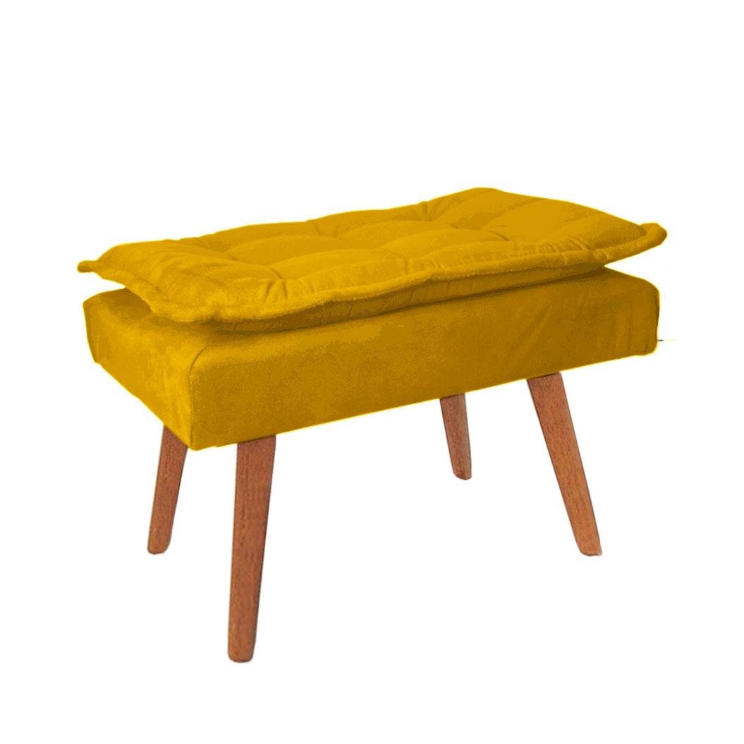 Puff Opala Decorativo Amarelo Pés Palitos De Madeira