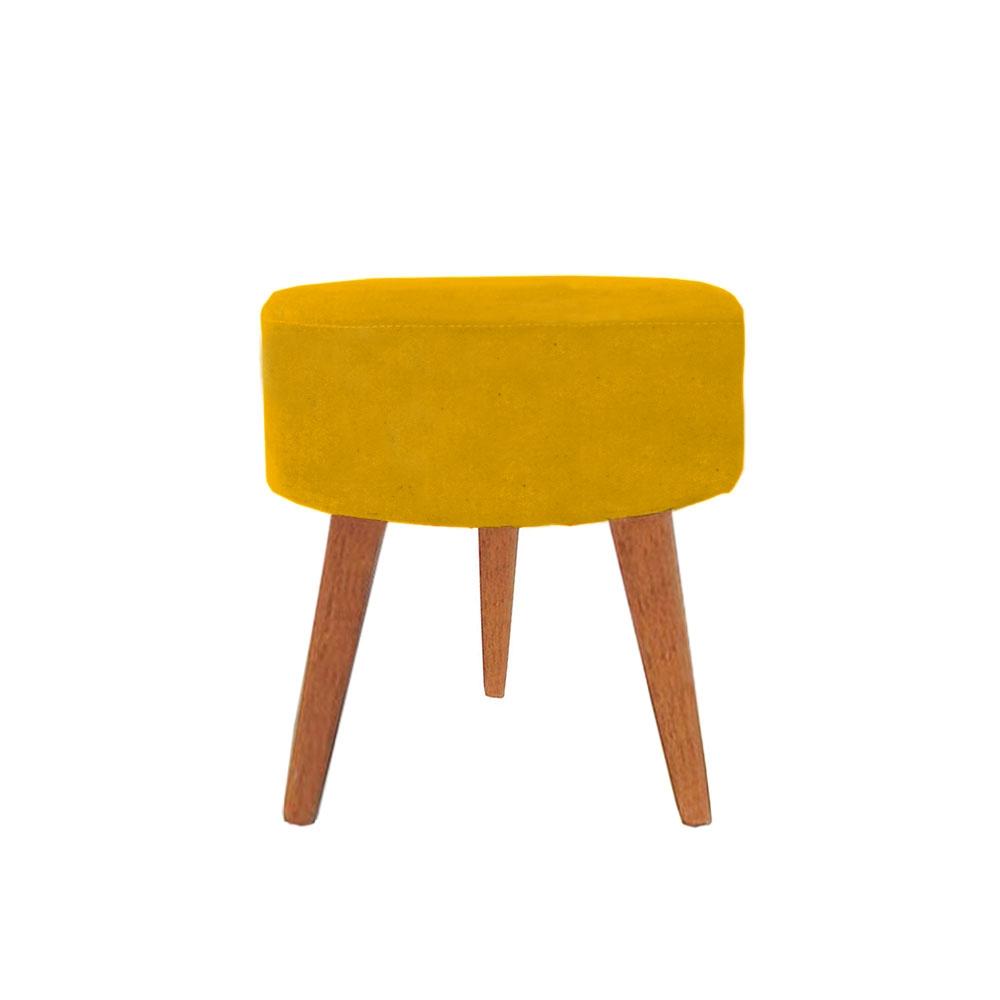 Puff Redondo Decorativo Amarelo Pés Palitos De Madeira