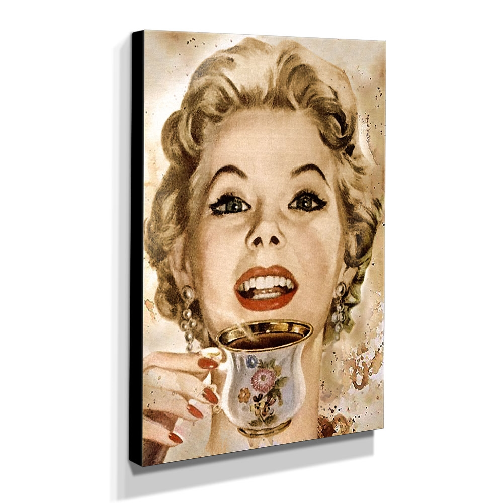 Quadro Cozinha Vintage Café Marilyn Monroe Canvas 40x30cm-COZ187