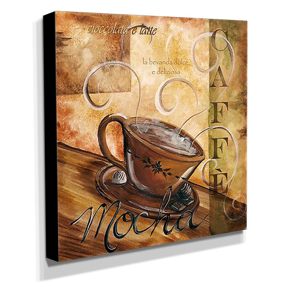 Quadro Cozinha Vintage Café Mocha Canvas 30x30cm-COZ98