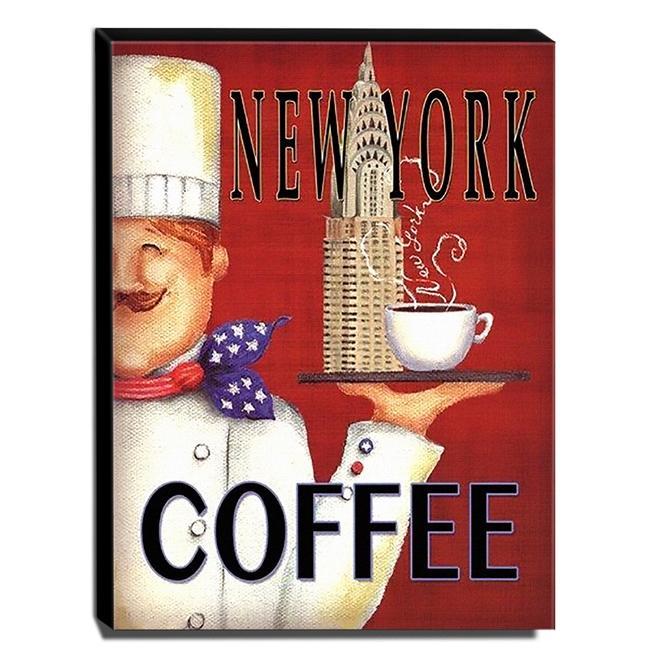 Quadro Cozinha Vintage Café New York Canvas 40x30cm-COZ14A