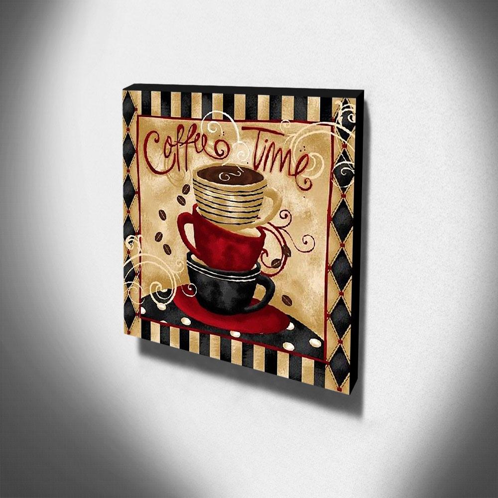 Quadro Cozinha Vintage Café Xícaras Canvas 30x30cm-COZ101