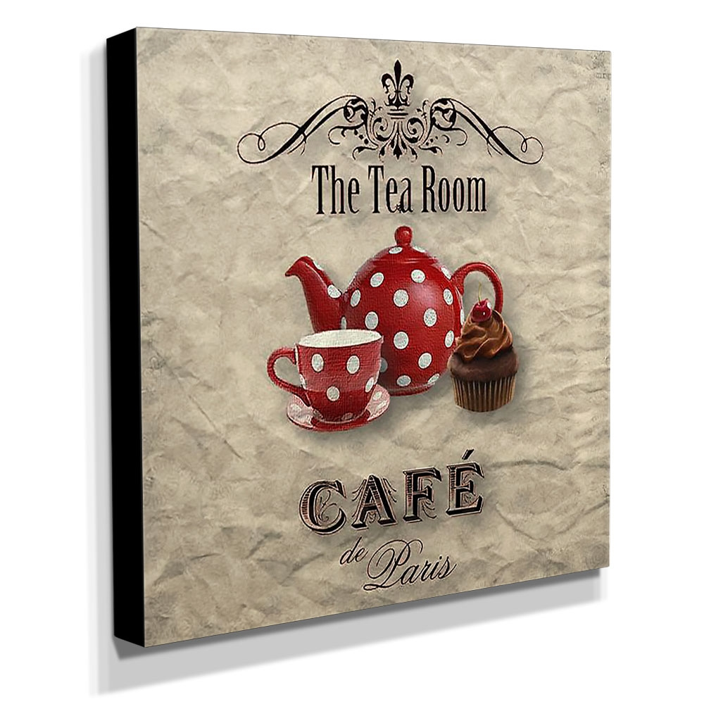 Quadro Cozinha Vintage Chá Café de Paris Canvas 30x30cm-COZ139