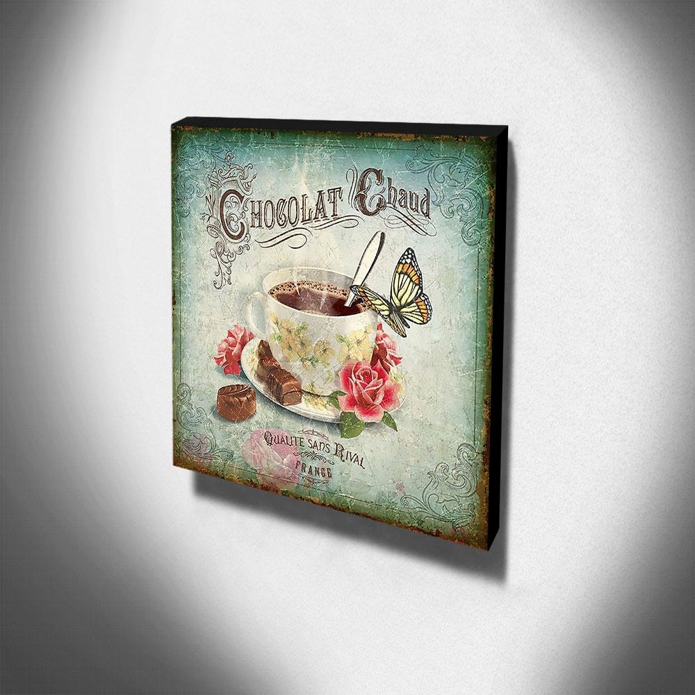 Quadro Cozinha Vintage Chocolate Quente Canvas 30x30cm-COZ90