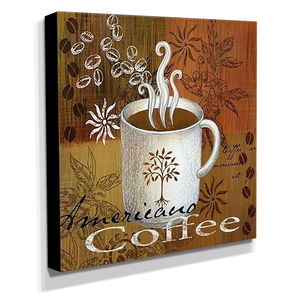 Quadro Cozinha Vintage Coffee Canvas 30x30cm-COZ105