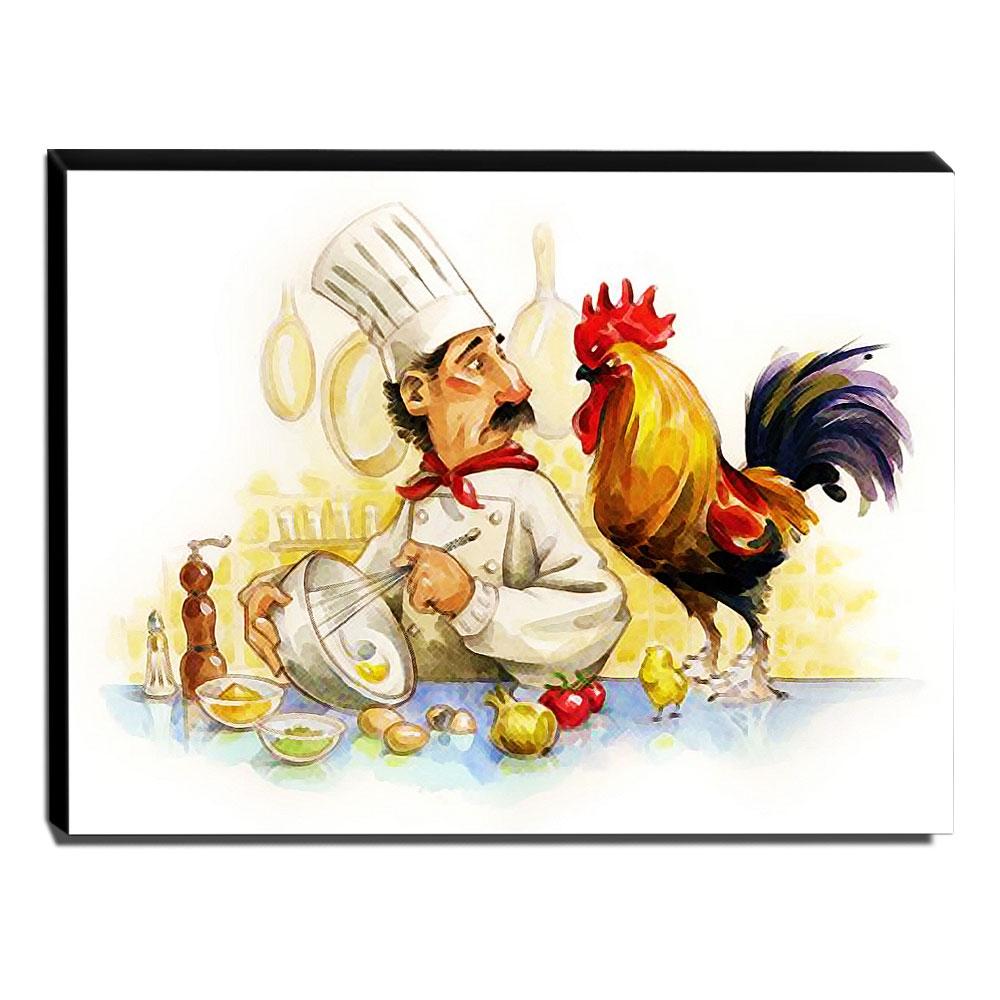 Quadro Cozinha Vintage Cozinheiro Galo Canvas 30x40cm-COZ114