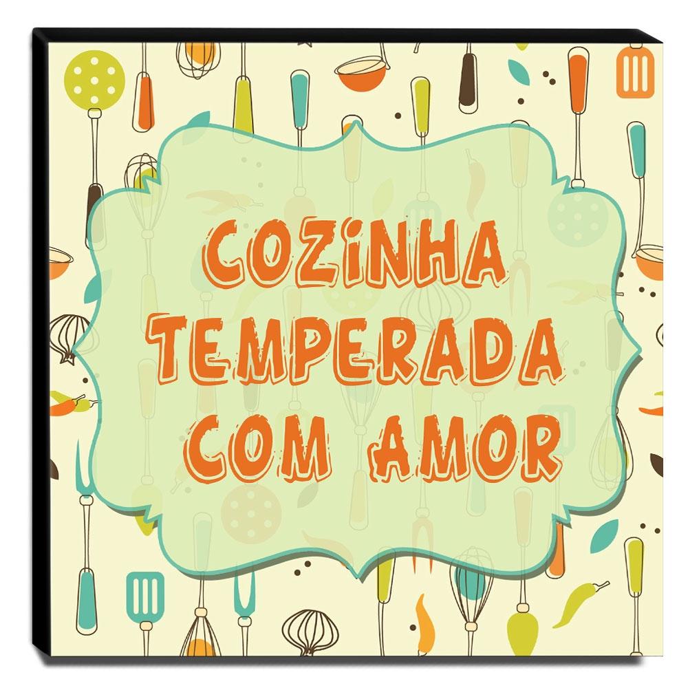 Quadro Cozinha Vintage Frase Cozinha Temperada Com Amor Canvas 30x30cm-COZ216