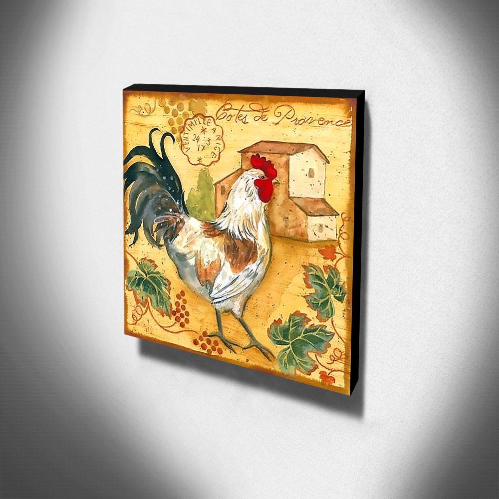 Quadro Cozinha Vintage Galinha Canvas 30x30cm-COZ178