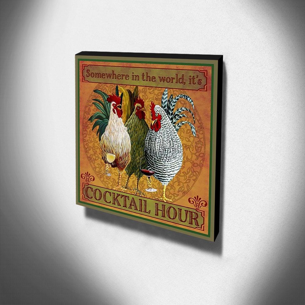 Quadro Cozinha Vintage Galinhas Canvas 30x30cm-COZ173
