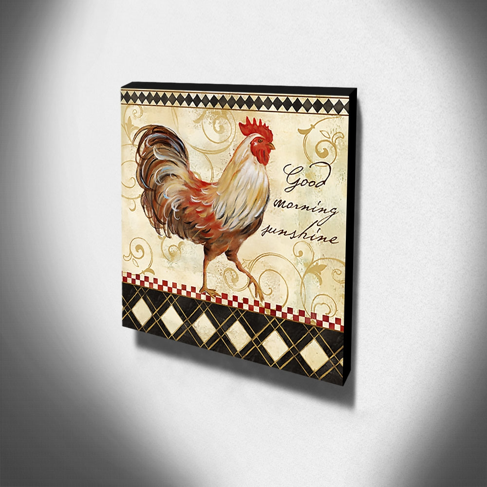 Quadro Cozinha Vintage Galo Canvas 30x30cm-COZ165