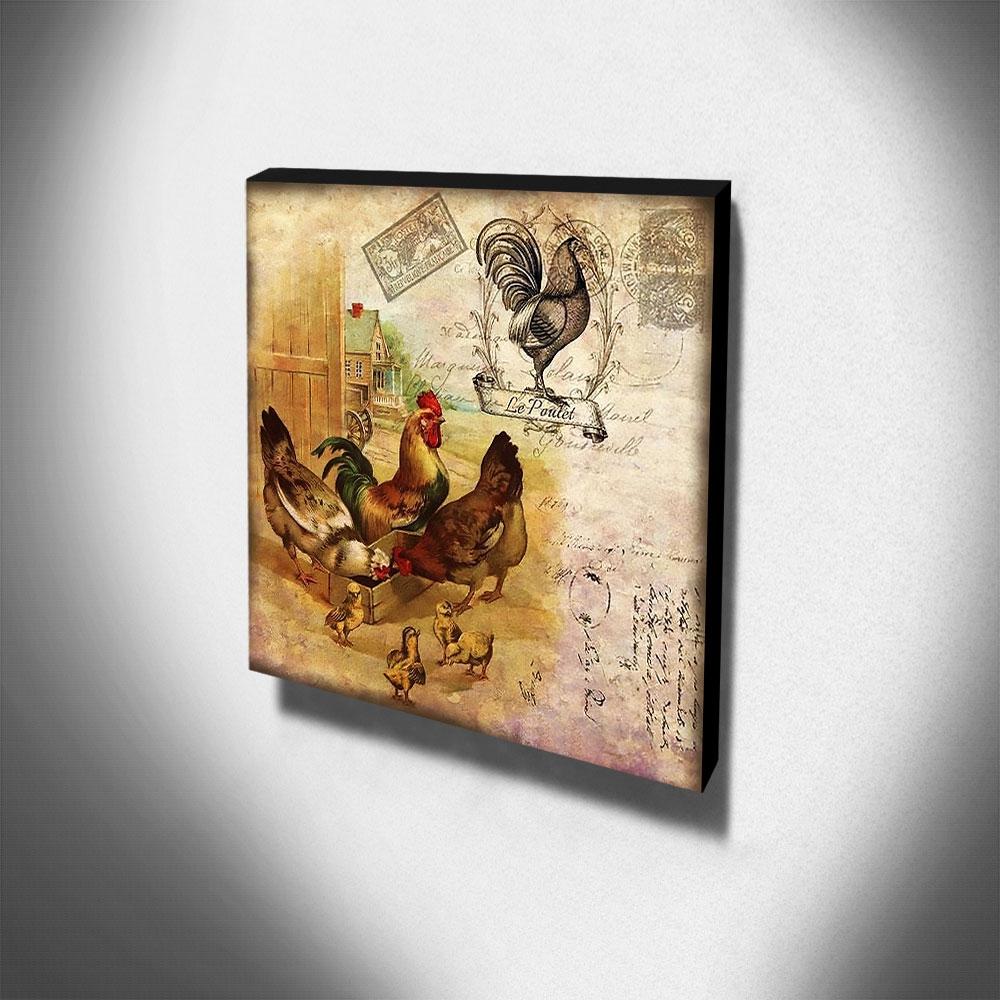 Quadro Cozinha Vintage Galo Galinhas Pintinhos Canvas 30x30cm-COZ162