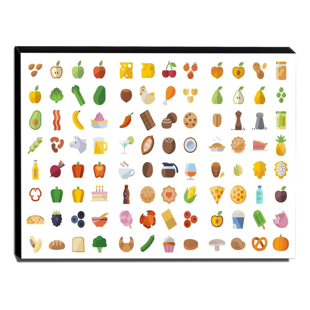 Quadro Cozinha Vintage  Ícones de Alimentos Canvas 30x40cm-COZ215