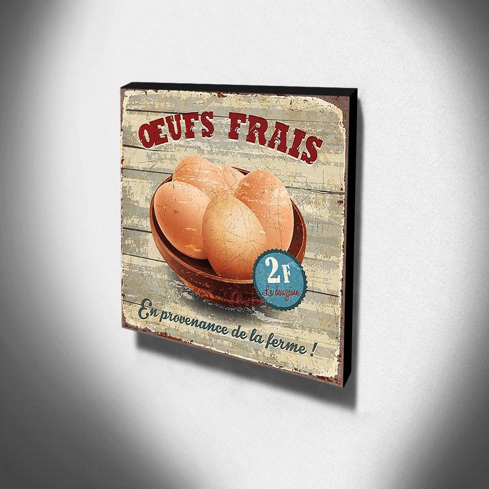 Quadro Cozinha Vintage Ovos Canvas 30x30cm-COZ63