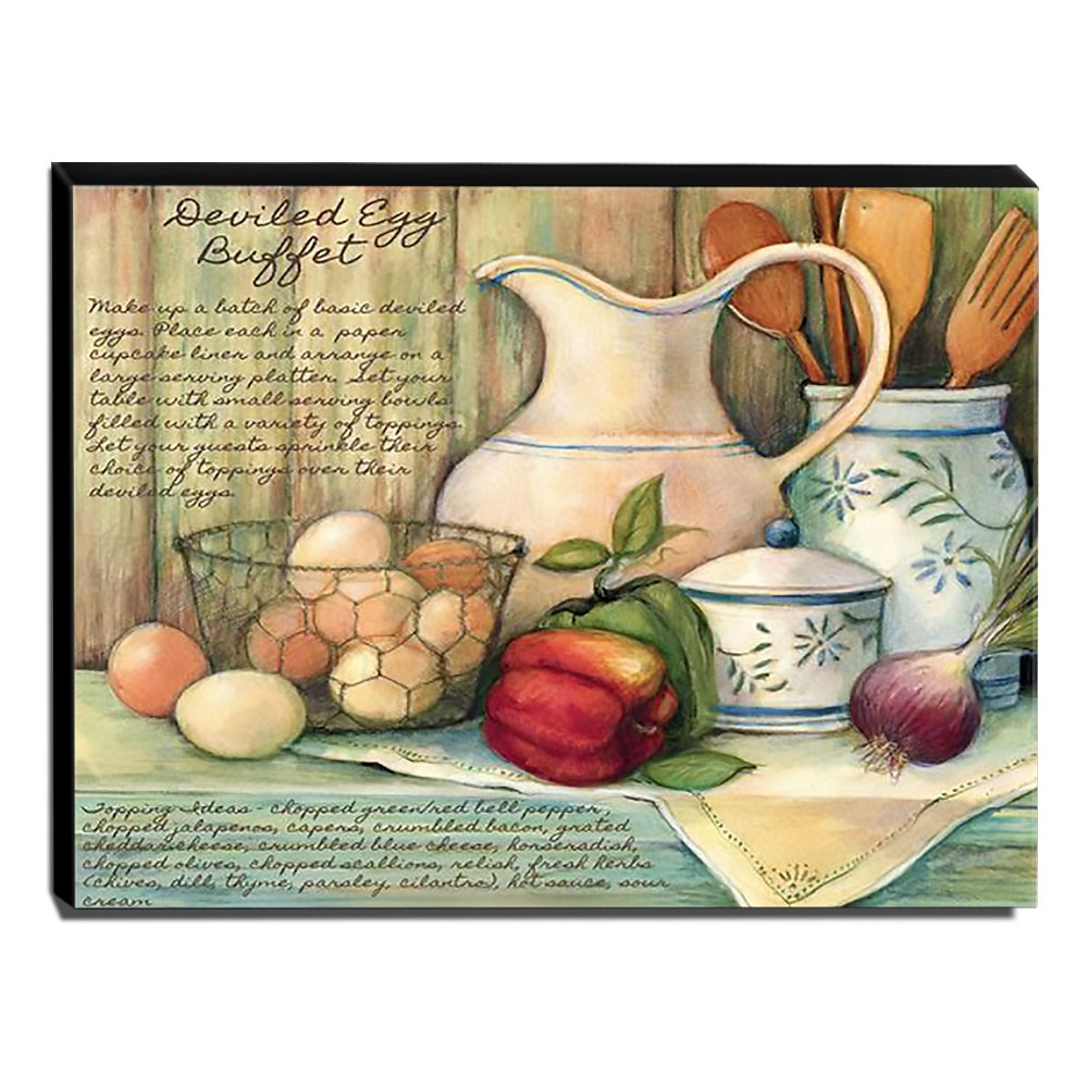 Quadro Cozinha Vintage Ovos Pimentão Cebola Canvas 30x40cm-COZ121