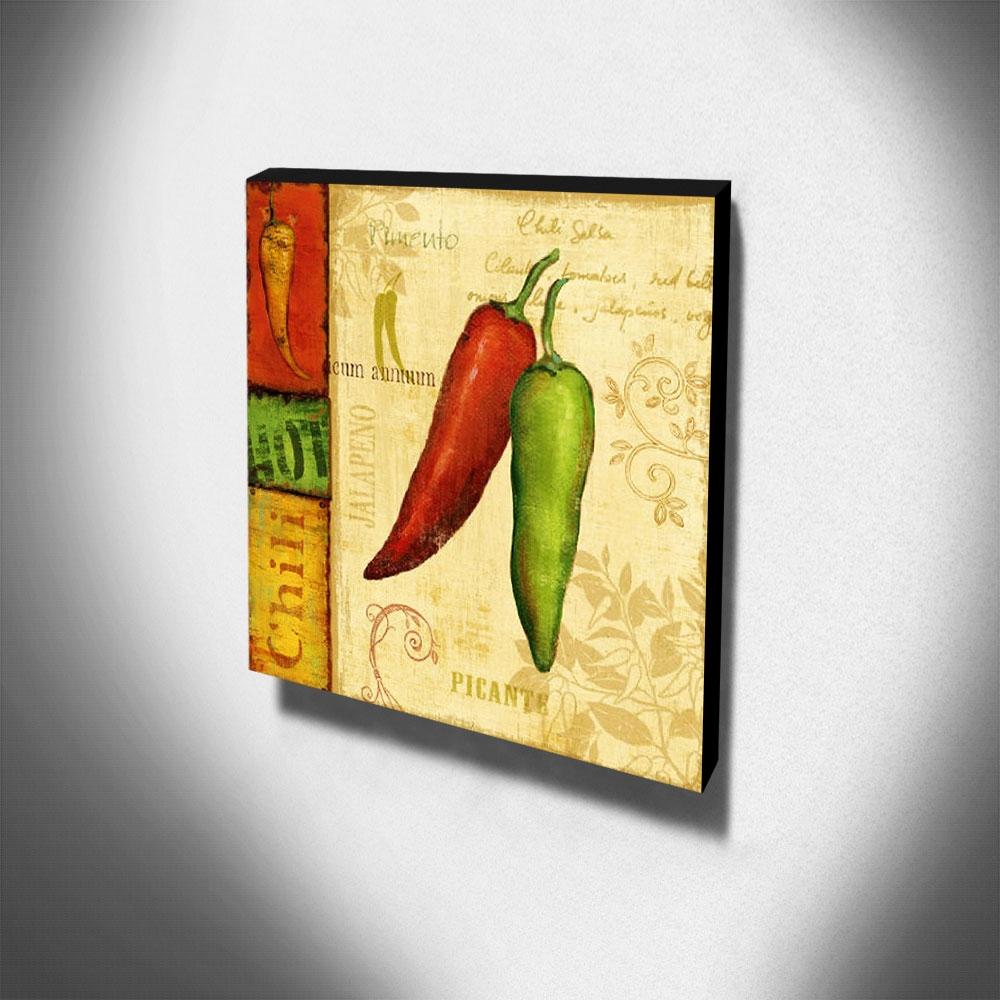 Quadro Cozinha Vintage Pimenta Canvas 30x30cm-COZ212