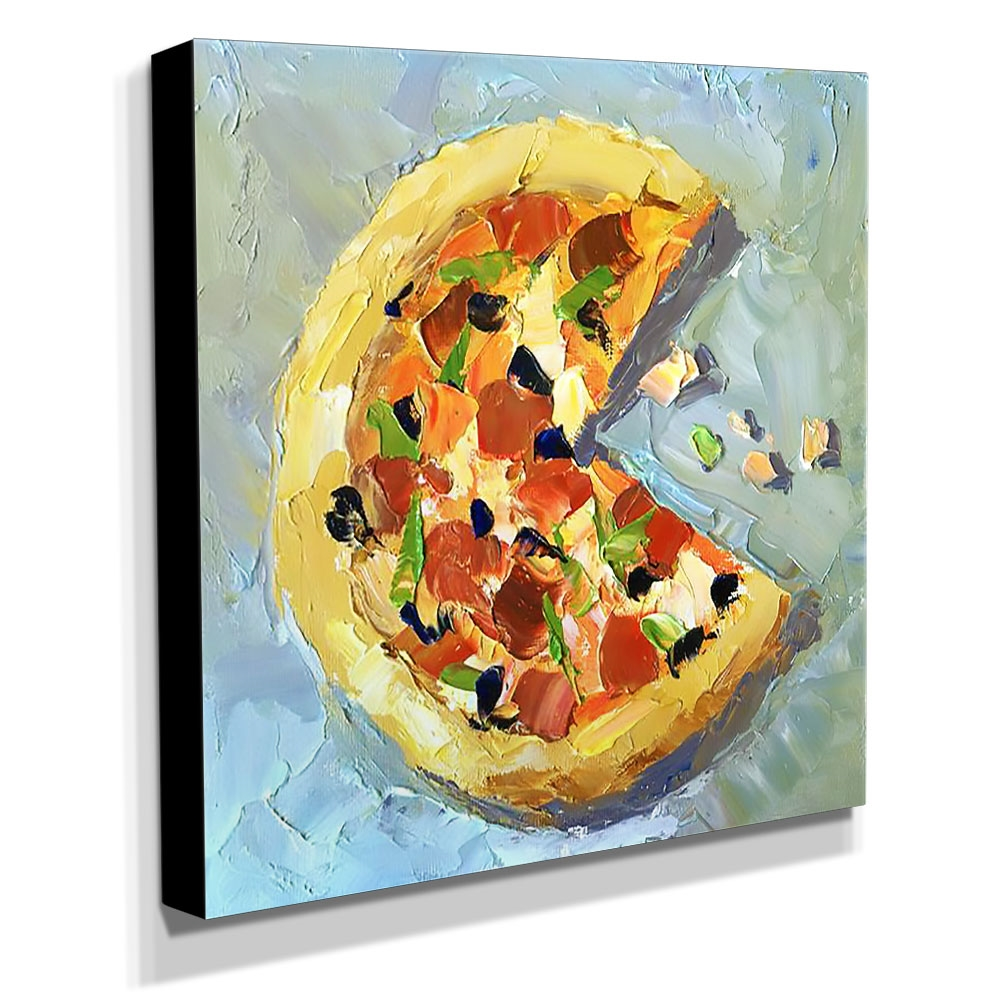 Quadro Cozinha Vintage Pizza Canvas 30x30cm-COZ202