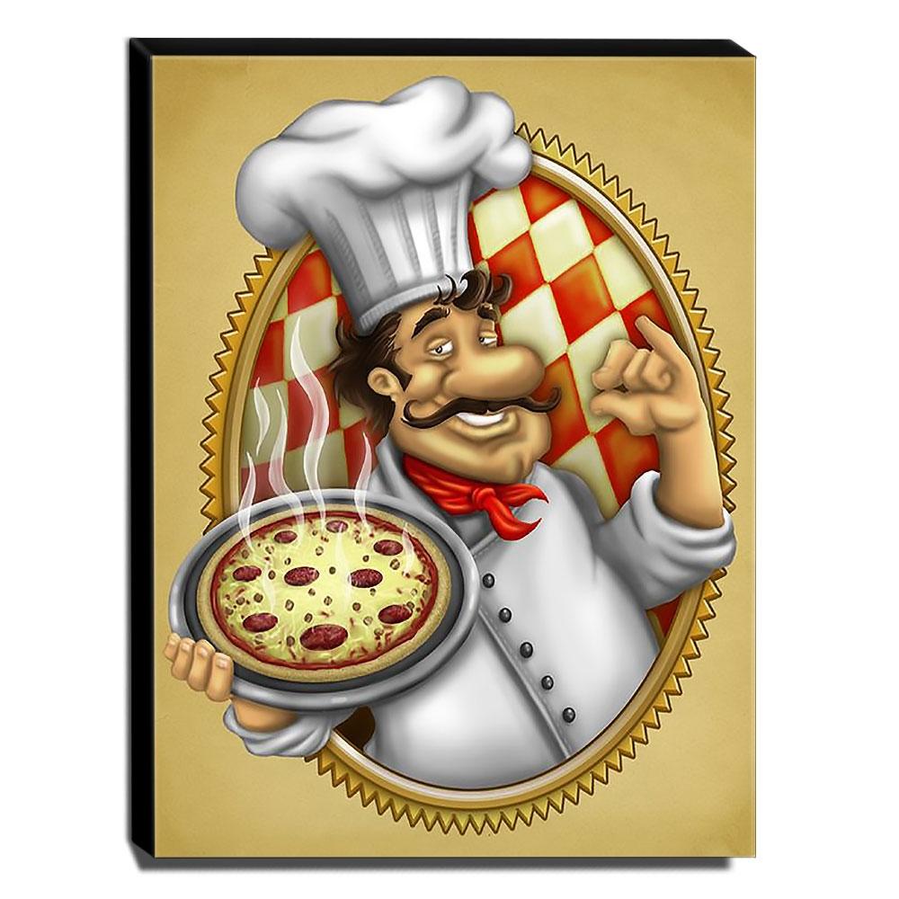 Quadro Cozinha Vintage Pizza Canvas 40x30cm-COZ110