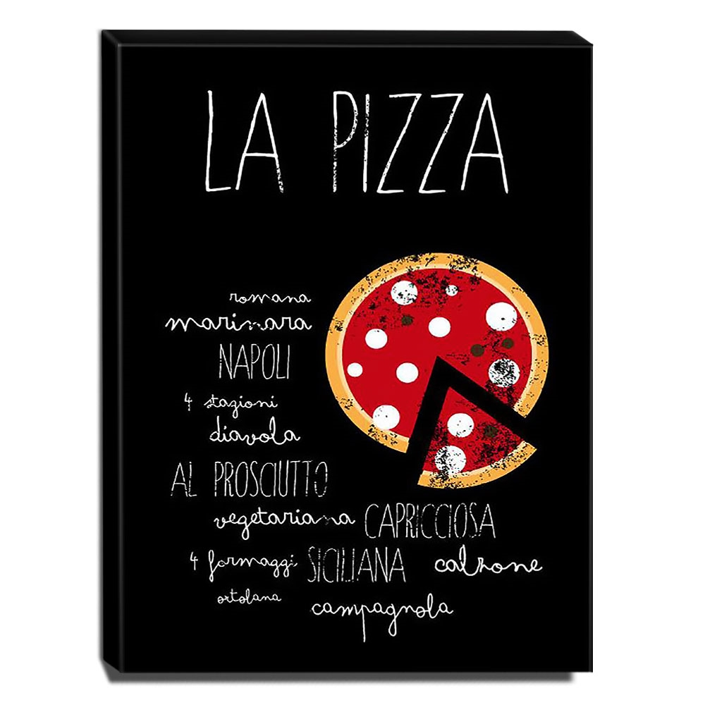 Quadro Cozinha Vintage Pizza Canvas 40x30cm-COZ210