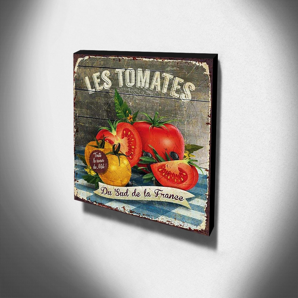 Quadro Cozinha Vintage Tomate Canvas 30x30cm-COZ51