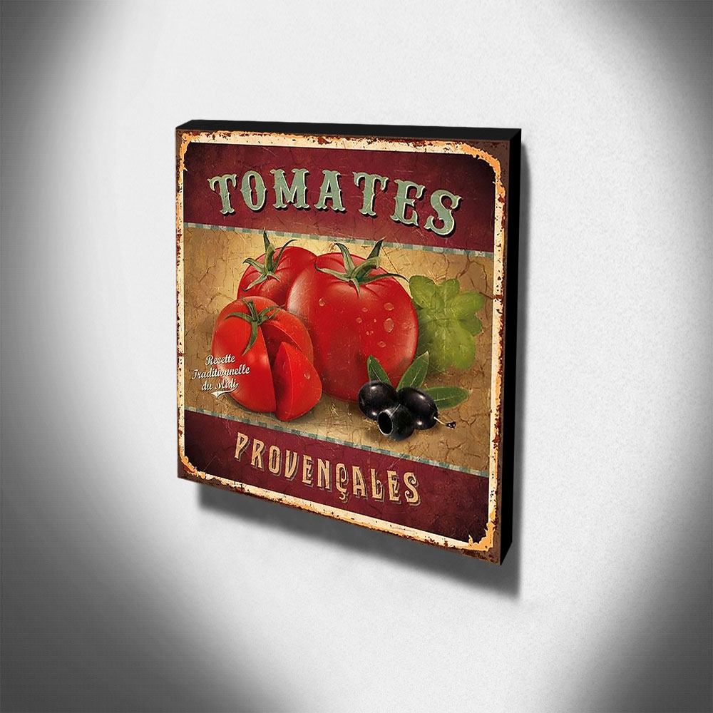 Quadro Cozinha Vintage Tomates Canvas 30x30cm-COZ95