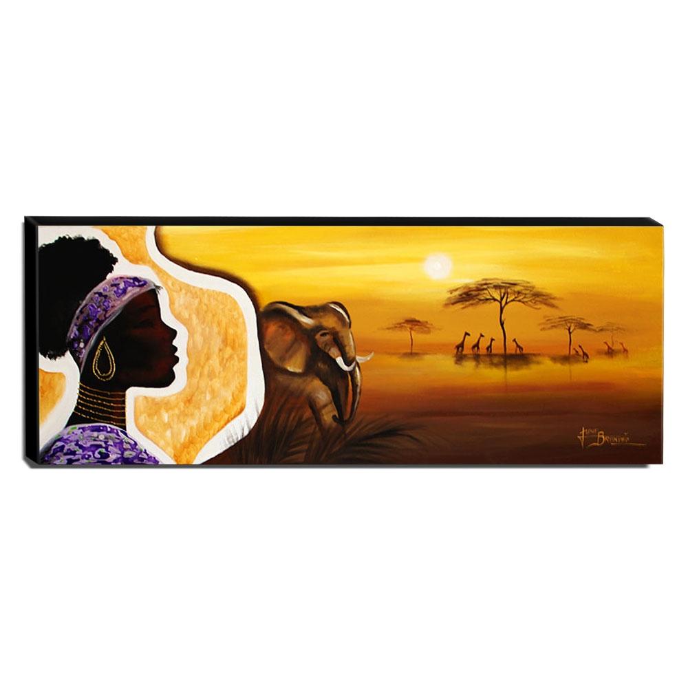 Quadro de Pintura Africana 40x105cm-1241