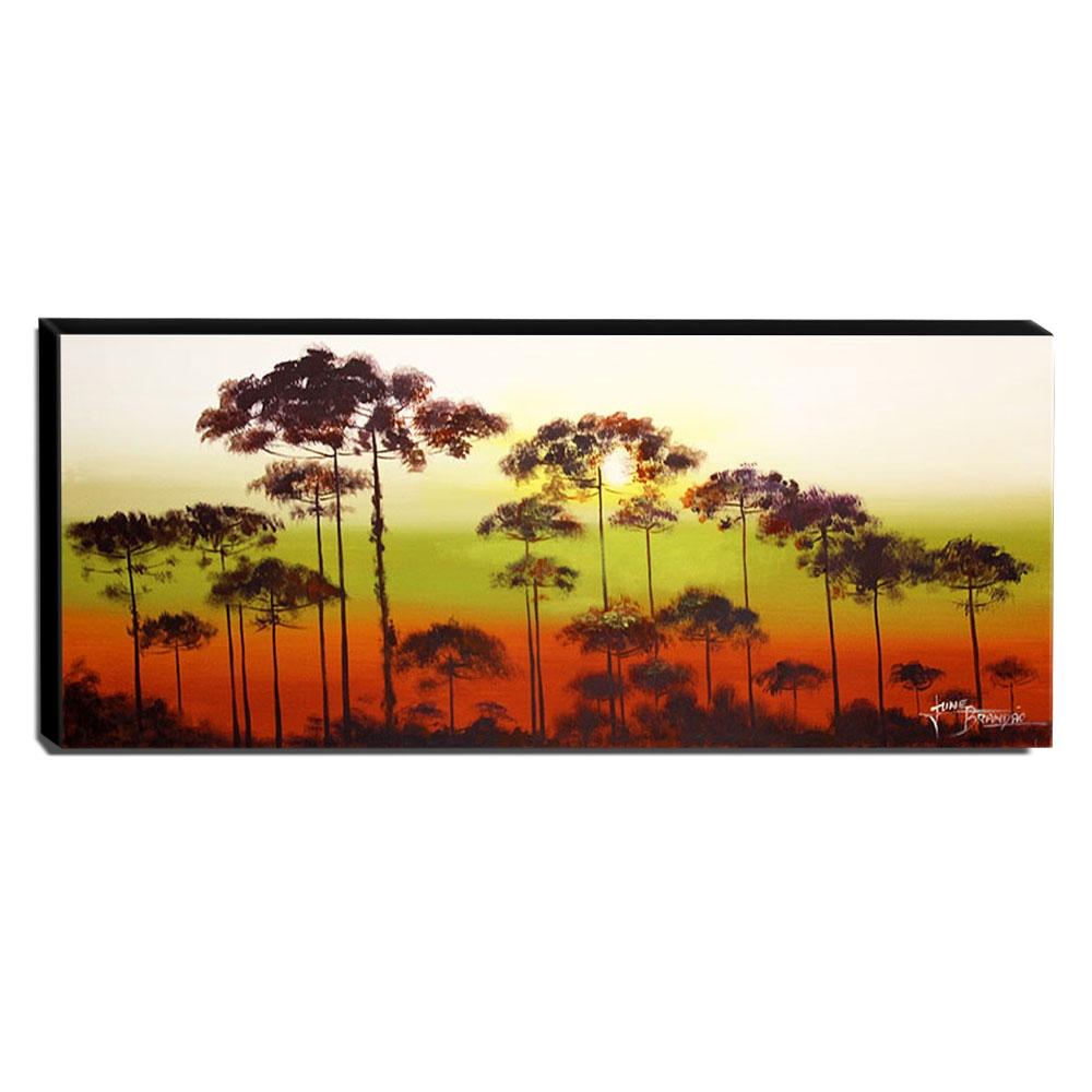 Quadro de Pintura Araucárias 45x120cm-1352